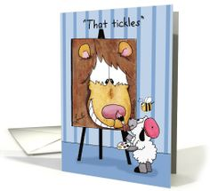 Happy Birthday for Friend-Lamb Paints Lion-That Tickles card