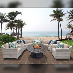 Delacora TKC-DPF-FAI08I Fairmont Outdoor 8 Piece Conversation Set with Fade Resi Wheat Outdoor Furniture Sets Conversation