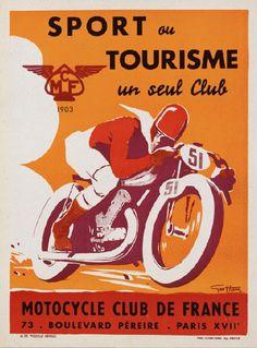 Sport ou Tourisme un seul Club, Motorcycle Club de France - Vintage French Sports Printable Poster