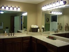 Simple L Shaped Bathroom Vanity On Small Home Remodel Ideas With L
