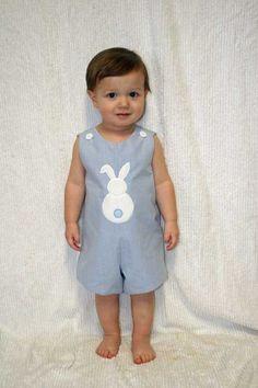 Blue Gingham Easter Bunny Shortalls,Longalls,Applique Easter Jon,Applique Easter Shortalls,