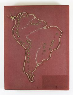 Fabric cushion map made by Perkins School for the Blind students, circa 1900. Map with tactile elements for use by the blind it has an outline of South America in wire with metal pegs for mountain ranges and white stitching for rivers.Visit the Perkins Archives Flicker page: http://www.flickr.com/photos/perkinsarchive/collections/
