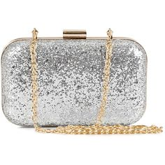 Nly Accessories Party Clutch ($14) ❤ liked on Polyvore featuring bags, handbags, clutches, purses, accessories, silver, womens-fashion, hard clutch, snakeskin handbags and leather handbags