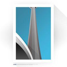 "Toronto Blue Jays 24"" x 32"" Rogers Centre CN Tower Minimalist Art Giclee Print"