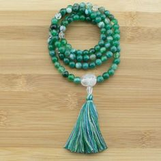 Green Sardonyx Agate Meditation Mala Beads with Ice Quartz Crystal