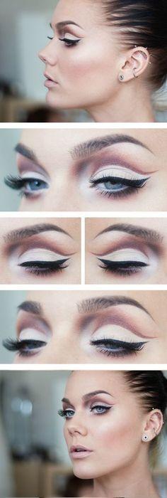 White, brown eye make up with black eye liner. Via The Makeup Bag Eye Makeup, Glam Makeup, Makeup Inspo, Makeup Inspiration, Makeup Ideas, Classy Makeup, Eyelashes Makeup, Daily Makeup, Makeup Box