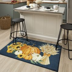 Give thanks for our bountiful blessings this fall season with the autumn inspired floral and pumpkin scene of the Thankful Harvest Mat in Denim. #thanksgiving #thanksgivingdecor #fall #falldecor #doormat #pumpkinspice #kitchendecor #coffee #lowes #homedecor #pumpkins #autumn #homedecor #arearugs #mohawkhome #mohawk #plaid Thanksgiving Kitchen Decor, Thanksgiving Kitchen, Autumn Home, Kitchen Decor, Porch Decorating, Home Decor, Rugs, Diy Decor, Mohawk Home
