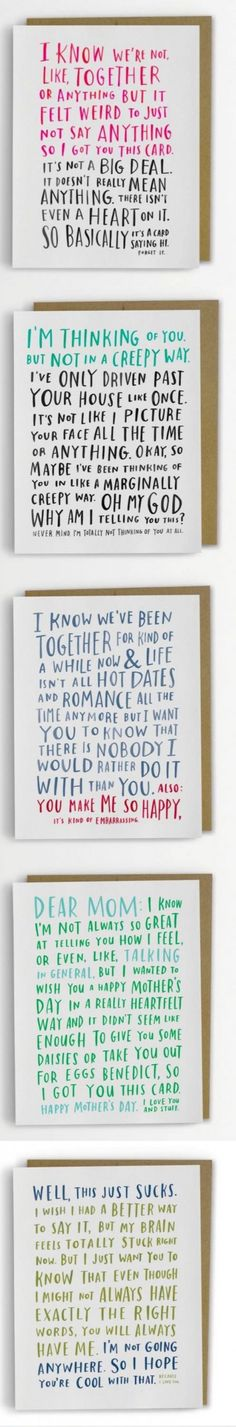 Some very sweet awkward cards  https://www.etsy.com/uk/listing/120809848/awkward-dating-card-by-emily-mcdowell-i
