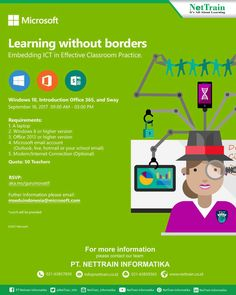 Learning without borders for 50 Teachers. Embedding ICT in effective Classroom Practice. Reservation Now : aka.ms/guruinovatif Requirments: - Laptop - min: Windows 8  - min : Office 2013 - Microsoft Email Account - Modem *Lunch be will provided #InfoNetTrain #Teacher #Effective #Classroom #School #Practive #Microsoft #Windows #Office