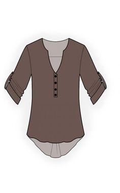 Blouse  - Naaipatroon #4540 Made-to-measure sewing pattern from Lekala with free online download. Losvallend, Schouder, Asymmetrisch, Gathers, Dichtgeknoopt, V-hals, Zonder kraag, Lange mouwen, Ingezette mouwen, Geen zakken