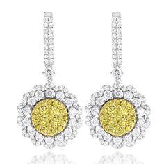 Luxurman 14k Gold 3ct TDW White and Yellow Diamond Flower Earrings ($3500)