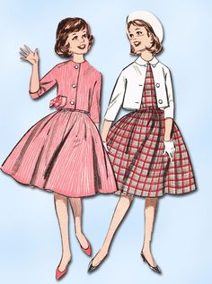 "Butterick Pattern 9641 Sub Teen Girls Dress and Jacket Pattern Dated 1962 Complete Nice Condition 12 of 12 Pattern Pieces Counted. Verified. Guaranteed. Nice Condition Overall Size 10s (29"" Bust)"