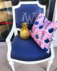 Katie Kime monogram chair and pillow.