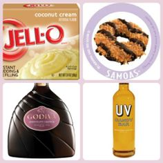 Samoas Girl Scout Pudding Shots 1 small pkg Coconut Creme pudding (instant, not the cooking kind) ¾ Cup Milk 1/2 Cup UV Candy Bar vodka 1/4 Cup Godiva Chocolate Liqueur or Chocolate vodka 8oz tub Cool Whip  Directions 1. Whisk together the milk, liquor, and instant pudding in a bowl until combined. 2. Add cool whip a little at a time with whisk. 3. Spoon the pudding mixture into shot glasses, disposable party shot cups or 1 or 2 ounce cups with lids. Place in freezer for at least 2 hours