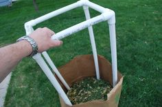PVC Yard Bag Stand:  Build a stand to hold those pesky paper yard bags upright!  Easy to build and slips in and out of the bag. - FORMUFIT.com