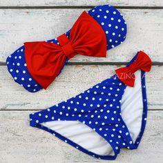 Mary Market Royal Blue Polka Dot Bow Top Bandeau Bikini