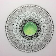 Mandala with gem centre created using Caran D'ache Luminence pencils
