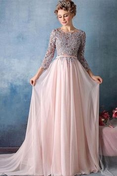 Chiffon Prom Dress, Pink Prom Dress, Prom Dress Lace, Prom Dress For Cheap, Prom Dress With Sleeves #Prom #Dress #For #Cheap #Pink #Lace #With #Sleeves #Chiffon Prom Dresses 2019