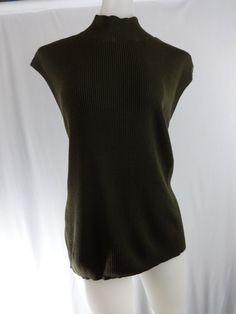 COLDWATER CREEK Large Brown Sleeveless SILK Ribbed Sweater Shirt #ColdwaterCreek #TurtleneckMock