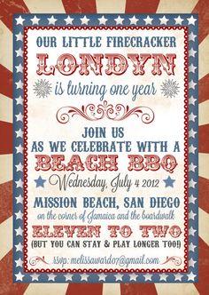 4th of July Birthday Invitation on Etsy, $2.25