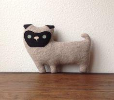 the Pug  plush wool pillow by ThreeBadSeeds on Etsy, $60.00