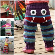 "<input class=""jpibfi"" type=""hidden"" >How cool are these Monster pants with mouth and teeth ! They are perfect for either sex, depending on your choice of yarn colorways.These super cute monster ""Crawler"" style pants are stretchy soft, yet durable enough to be his everyday play pants. They are great knitting project gifts for any little one ! Happy knitting…"