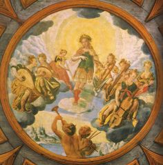 Early 1600s—Schloss Würting, Austria: A ceiling painting in the Würting castle in Upper Austria depicts Apollo and the muses