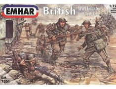 The Emhar British WWI Infantry with Tank Crew  in 1/72 scale from the plastic figure models range accurately recreates the real life soldiers.  This Emhar figures model requires paint and glue to complete.