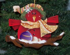 Hey, I found this really awesome Etsy listing at https://www.etsy.com/listing/56646003/red-bird-handpainted-ornamentchristmas