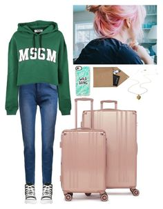 """""""Hana; Getting away for awhile"""" by leehana-dna ❤ liked on Polyvore featuring Anya Hindmarch, Abercrombie & Fitch, Victoria's Secret, Nudie Jeans Co., Boohoo, CalPak, Casetify, MSGM, STOW and Converse"""