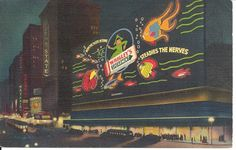 Vintage Linen Postcard Wrigley Sign Times Square New York postmarked 1940 by Onlypostcards on Etsy https://www.etsy.com/listing/210920289/vintage-linen-postcard-wrigley-sign