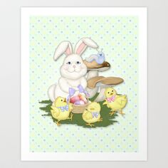 White Rabbit and Easter Friends Art Print by Spice - $15.60