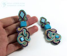 The work that I have performed yesterday, today was finishing. I can honestly say that I'm happy with it :) Earrings made by laborious embroidery Soutache, decorated with turquoise cubes of natural nacre (top) and Japanese toho beads. Length of earrings is 7 cm, a width of about 3 cm. Impregnated, non-allergenic silver ear wires.    AVAILABLE and recommend, just send me a email