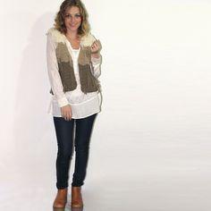Sale Chaleco Pura Lana Crochet Flecos - Negraovejita Tejidos - $ 350,00 en MercadoLibre