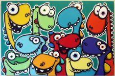 DiNO LuV - 24x36 original acrylic painting on canvas, dinosaur art