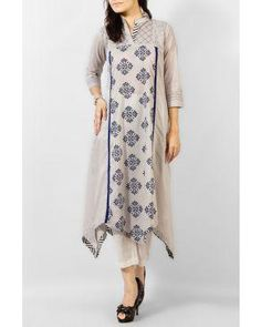 Obsession Grey Mix Cotton Kurta with Blue Ethnic Print | Buy online | daraz.pk