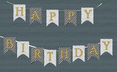 happy birthday banner black white gold by peonyandpearldesign