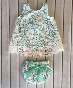 White & Aqua Lace Eyelet Tunic & Bloomers - Infant & Toddler