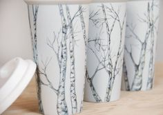 Eco-Friendly Painted Ceramic Travel Mug - Birch Trees, via Etsy. Eco Friendly Paint, Wheel Throwing, Presents For Friends, Ceramic Painting, Birch Trees, Travel Mug, Pottery, Ceramics, Mugs