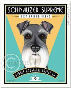 Schnauzer Art Schnauzer Coffee art print by by RetroPetsArt