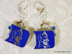 College Charm Dangle Earrings-Duke Blue by SDJewelryDesign16