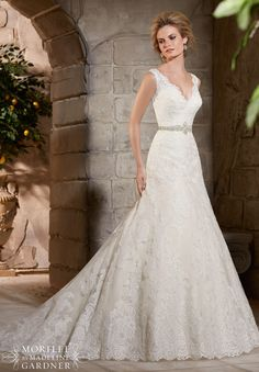 Wedding Dress 2783 Alencon Lace Appliques on Net with Wide Scalloped Hemline Lace
