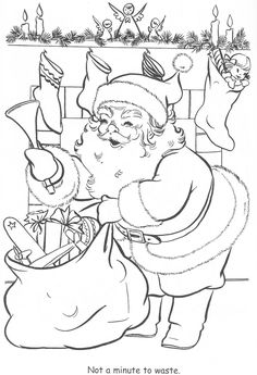 Santa Claus In The Home Coloring Pages - Christmas Coloring Pages : KidsDrawing – Free Coloring Pages Online Free Christmas Coloring Pages, Santa Coloring Pages, Christmas Coloring Sheets, Colouring Pages, Printable Coloring Pages, Adult Coloring Pages, Coloring Pages For Kids, Coloring Books, Free Coloring