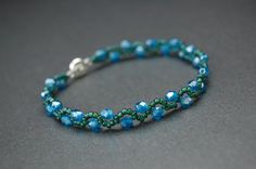 Crystal and Seed Bead Bracelet  SWEETWATER by BluDaisyJewelry