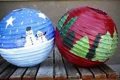 Children can decorate white paper lanterns to celebrate Christmas