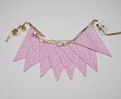 fabric bunting, pink pennant, gold metallic garland, triangle flags, cloth, banner, eco friendly, reusable, decoration, party decor, ballet - pinned by pin4etsy.com