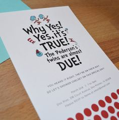 Thing 1 & Thing 2 Baby Shower Invitation by tulaandtwig on Etsy. , via Etsy.