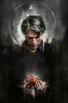 Another Saint Hannibal (…)-holding a heart bc it fits the Halloween theme, and it kinda ties in with my Radiance piece <; (I'm aware it looks like Hannibal . Hannibal Lecter, Hannibal Tv Series, Nbc Hannibal, Hannibal Wallpaper, Dead Stranding, Will Graham Hannibal, Kojima Productions, Sir Anthony Hopkins, Fanart