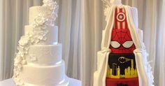 A couple reached the perfect compromise on their wedding cake by marrying traditional style with superhero style.