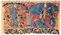 Fragment of The Baldishol Tapestry, Hedmark, Norway. 12th C. It came to light after the demolition of the Baldishol church in the late 1870s. Kunstindustrimuseet, Oslo.